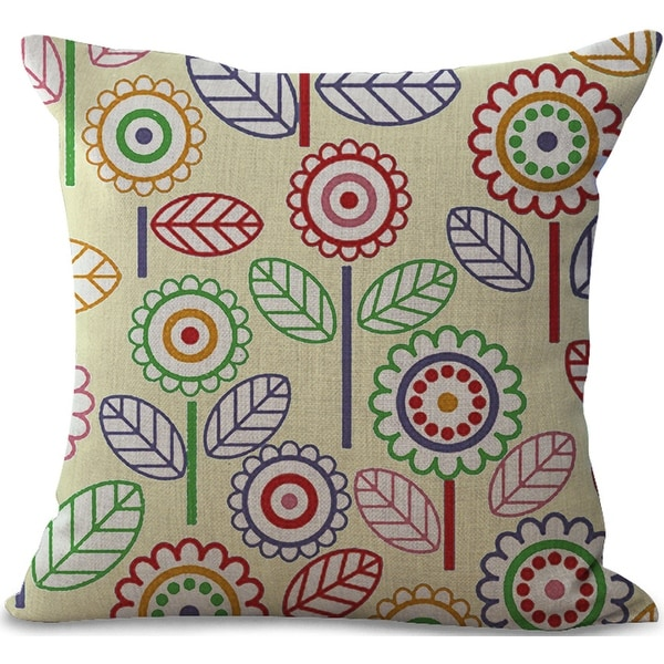Throw Cushion Pattern Decor Cotton Leaf Pillow 18inch Linen Case Cover
