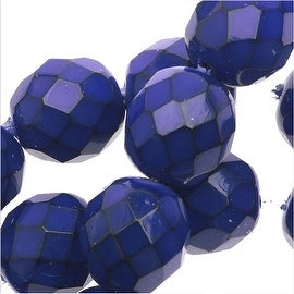 Czech Glass Snake Beads, Round Fire Polished 10mm, 1 Strand of 15 Pieces, Cobalt Blue