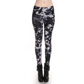 Fashion Lady Pattern Printed Crow Design Stretch Tight Leggings Skinny Pants