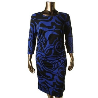 Milano Womens Printed Ruched Sides Wear to Work Dress