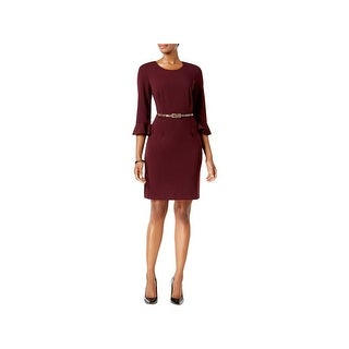 Connected Apparel Womens Petites Special Occasion Dress Trumpet Sleeves Office