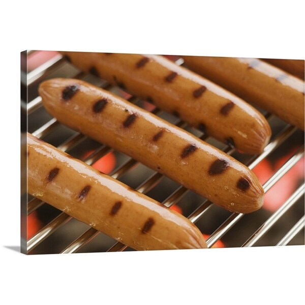 """""""Hot dogs cooking on grill"""" Canvas Wall Art"""