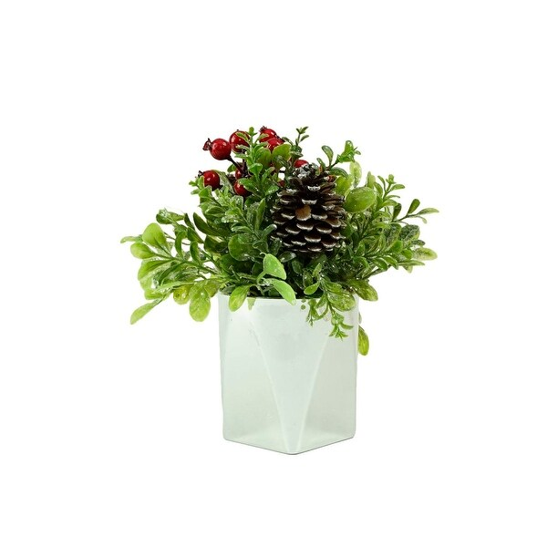 "8"" Silver Potted Artificial Boxwood and Berries Decorative Christmas Arrangement"