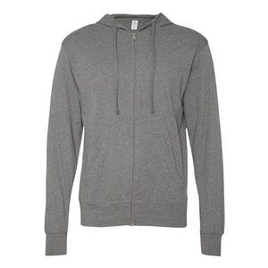Independent Trading Co. Lightweight Jersey Hooded Full-Zip T-Shirt - Gunmetal Heather - S