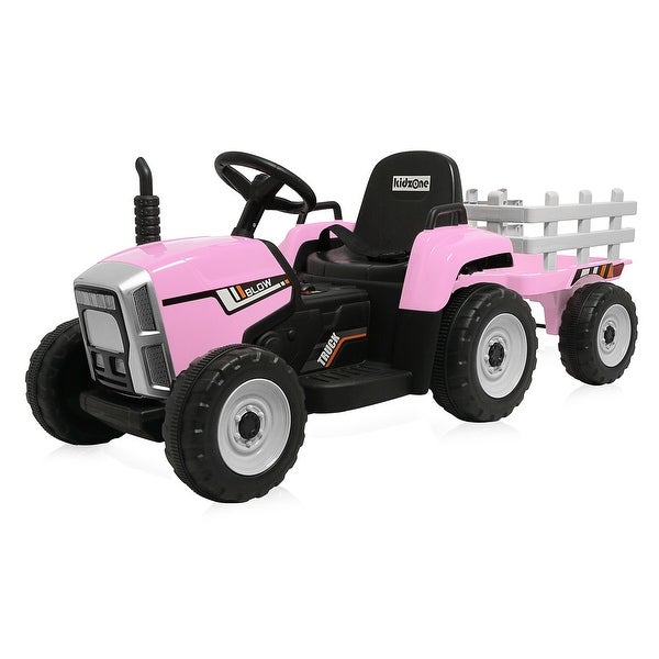 Kidzone 12V Kid Electric Tractor W/ Trailer Ride On 2-Speed, 5 Colors - standard. Opens flyout.