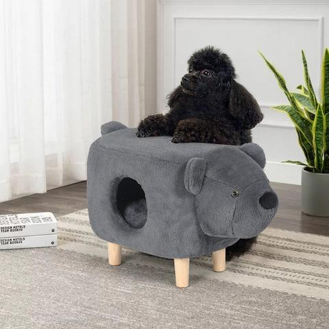 Adeco Cat Cave Bed - Condo House Ottoman Footstool Indoor Pet Sleeping Bed
