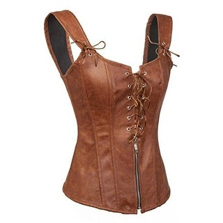 Bslingerie Womens Corset Faux Leather Lace Up Back