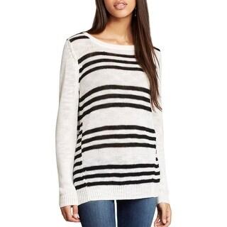 Aqua Womens Pullover Sweater Ribbed Trim Jewel Neck - l