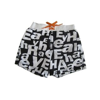 Jake Austin Boys Black White Letter Print Adjustable Waist Swim Shorts