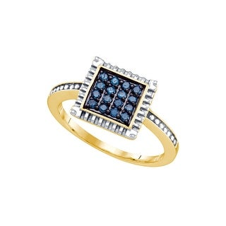 Sterling Silver Womens Round Blue Colored Diamond Square Fashion Ring 1/4 Cttw
