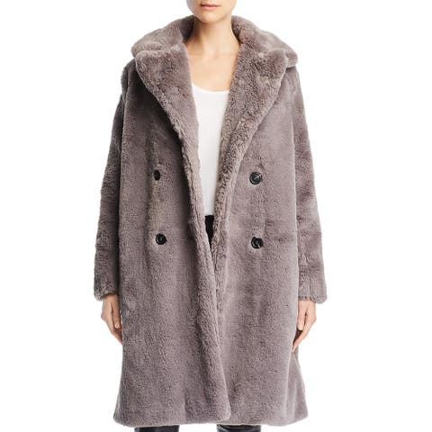French Connection Womens Annie Faux Fur Coat Long Two-Button