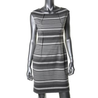 Calvin Klein Womens Petites Striped Cap Sleeves Wear to Work Dress - 12P