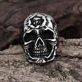 Vienna Jewelry Silver Lining Stainless Steel Skull Ring - Thumbnail 1