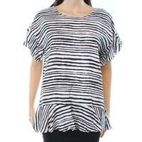 Context White Women's Peplum Animal-Print Knit Top
