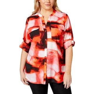 Calvin Klein Womens Plus Button-Down Top Printed Adjustable Sleeves