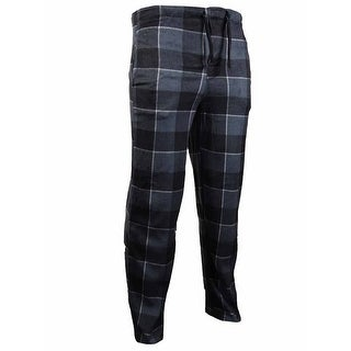 Perry Ellis Men's Plaid Fleece Pajama Pants (M, Black/Grey) - Black/Grey