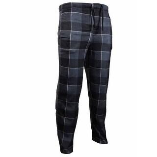 Perry Ellis Men's Plaid Fleece Pajama Pants (M, Black/Grey)