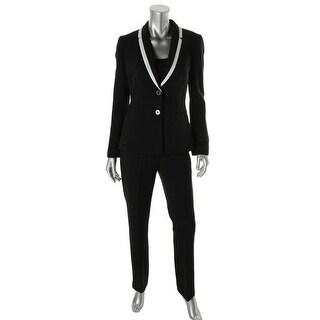 Tahari ASL Womens Reggie Crepe Contrast Trim Pant Suit