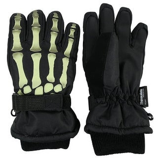 NICE CAPS Kids Glow in the Dark Skeleton Print Thinsulate Waterproof Gloves - Black