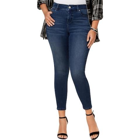 Celebrity Pink Womens Plus Super Slimmer Ankle Jeans Skinny Medium Wash