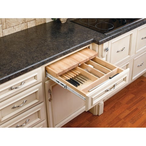 "Rev-A-Shelf 4KCB-24 4KCB Series Combination Knife Holder and Cutting Board for 24"" Base Cabinet - - Natural Wood"