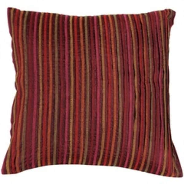 "18"" Brown, Red and Orange Geometric Squares Decorative Throw Pillow - Down Filler"