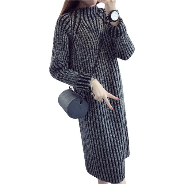 Spring Autumn Women Sweater Dresses Winter Christmas Long Sweaters Knitted  Thick Warm Sweater and Pullovers Jumper 476fbd9f8