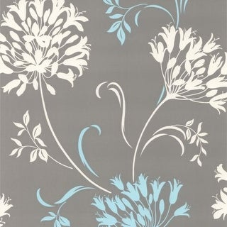 Brewster DL30458 Nerida Light Grey Floral Silhouette Wallpaper