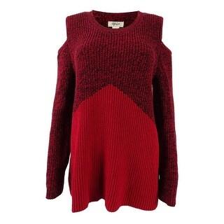 Style \u0026 Co Women\u0027s Colorblocked Cold-Shoulder Sweater (M, Red/Black)