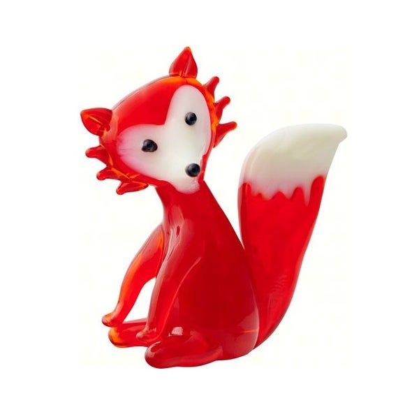 "4"" Red and White Fox Glass Figurine Decoration - N/A"