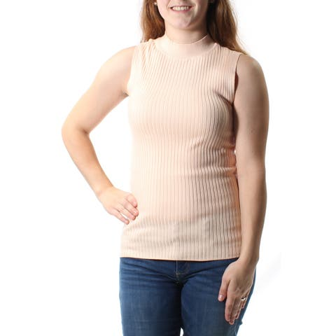 BAR III Womens Orange Sleeveless Crew Neck Sweater Size: M