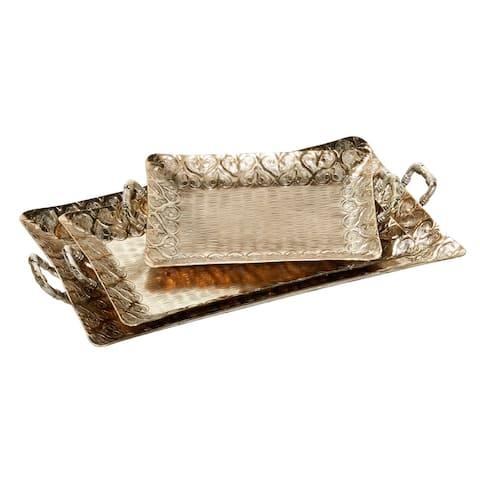"""Rectangular Antique Gold Aluminum Trays With Textured Patterned Inlay Set Of 3 15"""" 19"""" 23"""" - 22 x 13 x 3"""