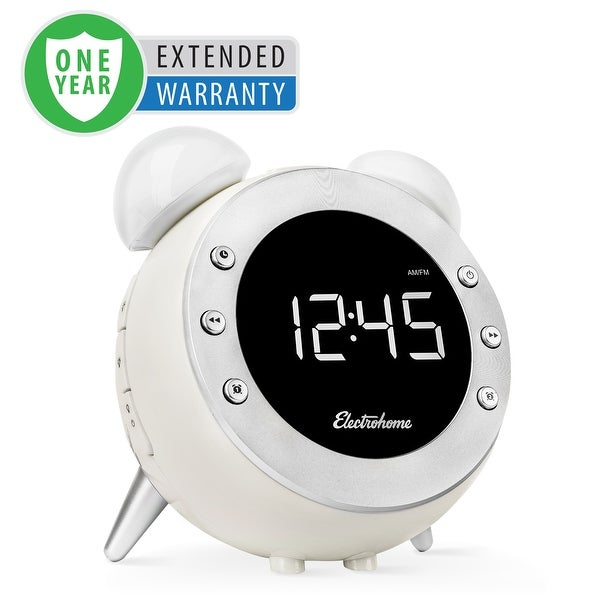 Electrohome Retro Alarm Clock Radio with Motion Activated Night Light and Snooze - 1 Year Extended Warranty