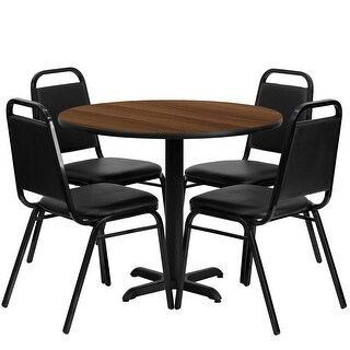 "Dyersburg 5pcs Table Set Round 36"" Walnut X-Base, Black Banquet Chair"