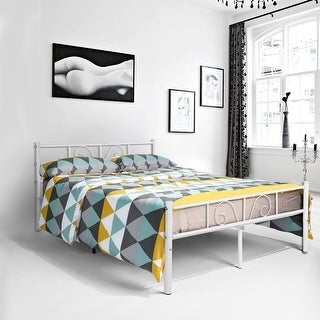 Twin/Full Size Metal Bed Frame Platform Bedroom Furniture with headboard Storage - White