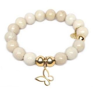 Julieta Jewelry Butterfly Charm Ivory Jade Bracelet