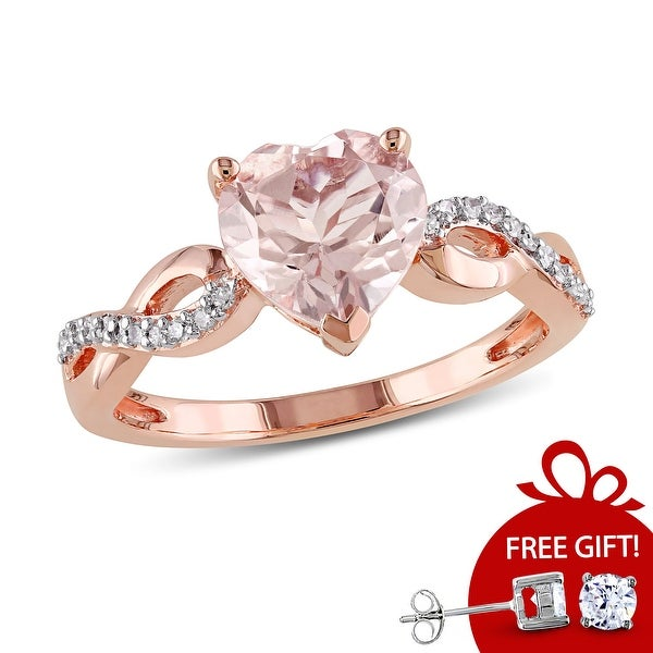 Miadora 10k Rose Gold Heart Shaped Morganite and 1/10ct TDW Diamond Twist Ring (G-H, I2-I3) - Pink. Opens flyout.