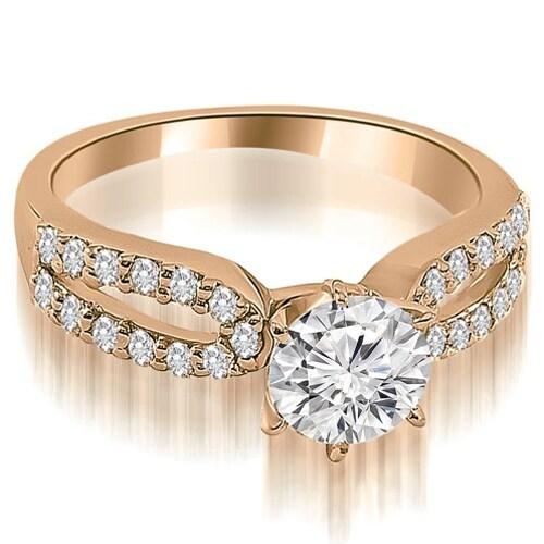 1.40 cttw. 14K Rose Gold Exquisite Split Shank Round Diamond Engagement Ring