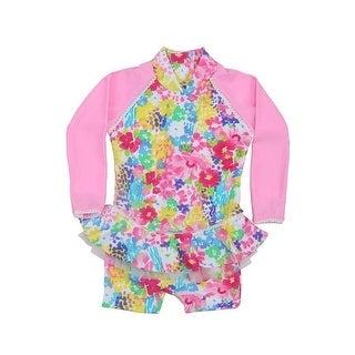 Sun Emporium Baby Girls Pink Monet Floral Frill Long Sleeve Sun Suit