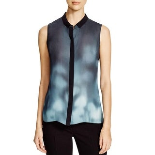 Elie Tahari Womens Dot Blouse Printed Sleeveless