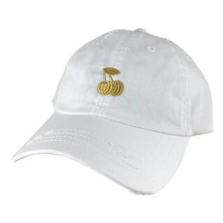 Cherry Distressed Unstructured Strapback Hat Cap by Caprobot - White Beige