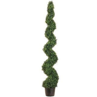6' Potted Artificial Spiral Green Pond Boxwood Topiary Tree