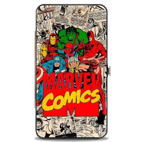 Marvel Comics 6 Retro Avengers Group Pose Marvel Comics Logo Stacked Comic Hinge Wallet One Size - One Size Fits most