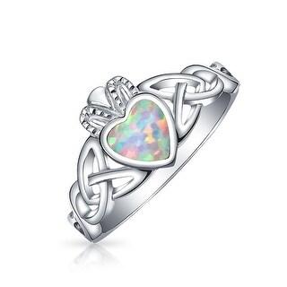925 Silver Claddagh Lab Created Opal Heart Ring