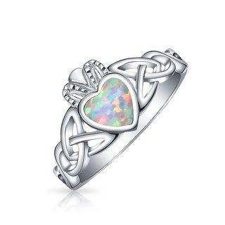 925 Silver Claddagh Synthetic Opal Heart Ring - White