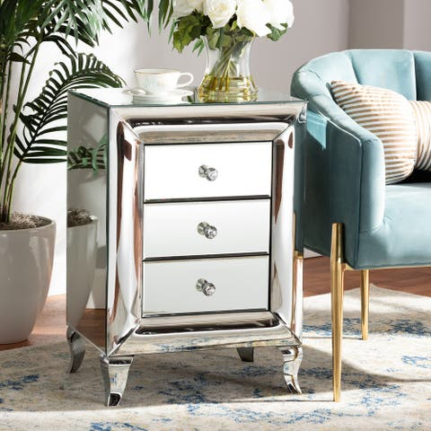 Pauline Contemporary Glam and Luxe Mirrored 3-Drawer Nightstand