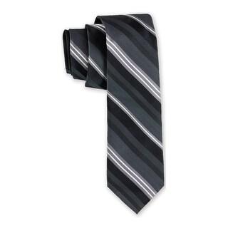 Distinction by Ryan Seacrest Black Multi Oakwood Stripe Mens Stretch Necktie 304