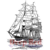 """Clipper Ship - Deep Red Cling Stamp 2""""X3"""""""