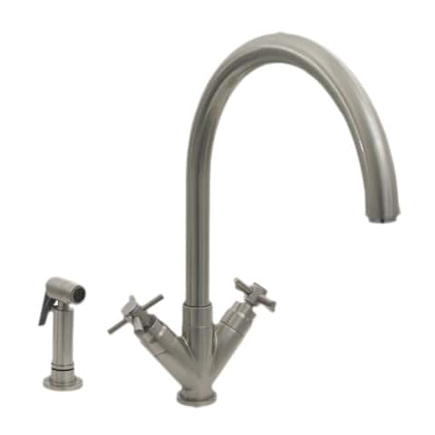 Whitehaus 3-0394285 Luxe+ Dual Handle Faucet with Gooseneck Swivel