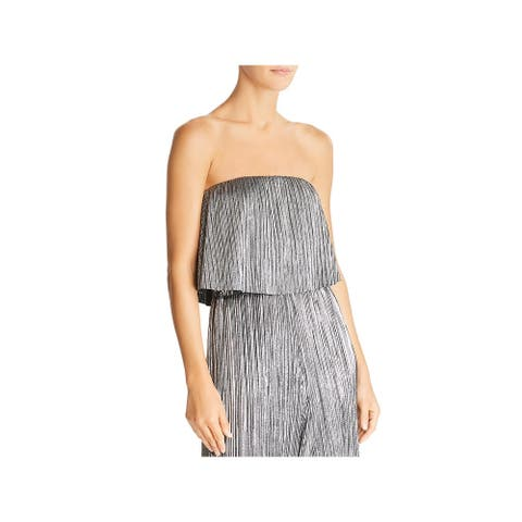 Lucy Paris Womens Bianca Crop Top Metallic Pleated - Silver